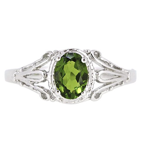 Filigree Sterling Silver Oval Cut Natural Chrome Diopside Ring (3/4 CT.T.W) (7)