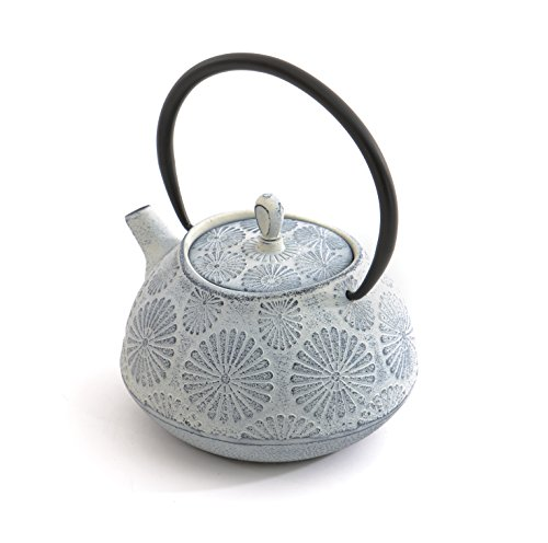 BergHOFF Cast Iron Flower Tea Pot, 1.2 quart, White (White Cast Iron Pot compare prices)