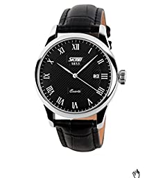 J.Market 30 Meters Waterproof Wrist Business Casual Watch Roman Numeral Quartz Watch With Date Function with Genuine Leather Band (Women, Black Dial)