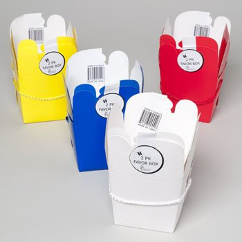 TAKEOUT BOX 2PK PAPER 4ASST SOLID COLORS PARTY FAVOR