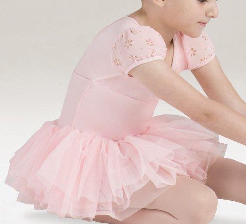 Kinder Ballettkleid, Puffärmel, mit 3-lagigem Tüllrock, Weiss