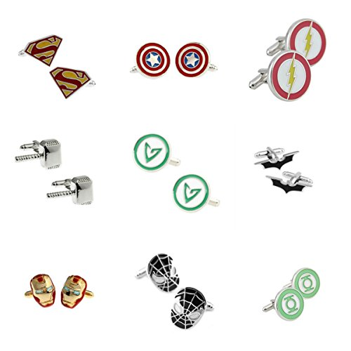 Superheroes-Marvel-and-DC-Comics-Assorted-Superheroe-Logos-9-Pairs-Mens-Wedding-Groomsman-Cufflinks-WGift-Box
