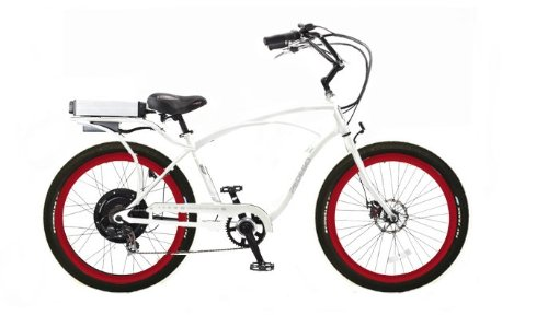 Pedego White Comfort Cruiser Classic Electric Bike with Red Rims and Black Balloon Tires