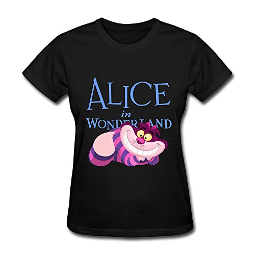ZEKO Women's Tees Alice In Wonderland Cheshire Cat Black