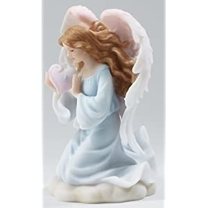 "Rose Memorial Angel - Stone Resin - 6.5"" High"