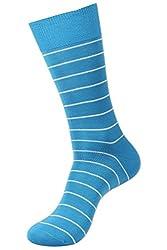 Balenzia Men's Casual Mercerized Cotton Socks- Blue