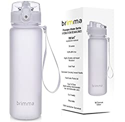 Premium Sports Water Bottle With Leak Proof Flip Top Lid - 18 Oz - Eco Friendly & Non Toxic BPA Free Tritan Plastic - Must Have For The Gym, Yoga, Running, Outdoors, Cycling, and Camping - By Brimma