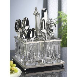Amazon.com - Nickel Plated and Glass Flatware Caddy - Silverware Caddy
