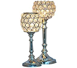 Cultural Hub® Diamond Candle Stand Crystal Design Tea Light Candle Holder, Gifts & Decor with 10 Tea Lights JK-5002 (Ball Shaped (Set of 2))