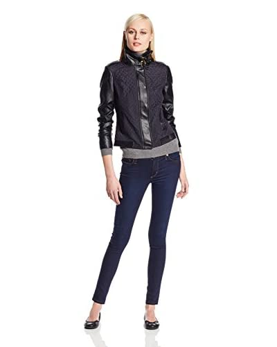 Adrianna Papell Women's Quilted Jacket with Faux Leather