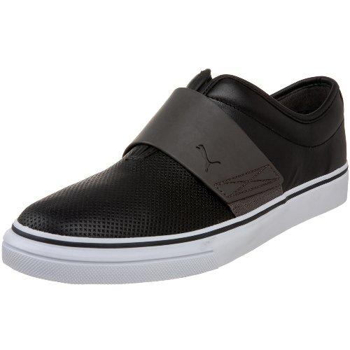PUMA Men's EL Rey Cross Perf Leather Slip-On Sneaker,Black/Dark Gull Gray,9 M