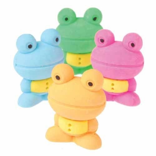 Set Of 6 Assorted Frog Theme Erasers by US Toy - 1