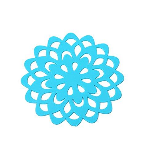 YOKIRIN PVC Silikon Untersetzer aus Filz für Tisch und Bar als Glasuntersetzer / Getränkeuntersetzer für Glas und Gläser-Blau(Durchmesser:9.5cm)