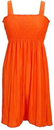 NY Deal Women's Smoked Tube Dress Cover Up, Solid Orange, Medium