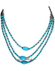 Naarilok Three Line Turquoise Chain With Big Turquoise Beads At Bottom For Women