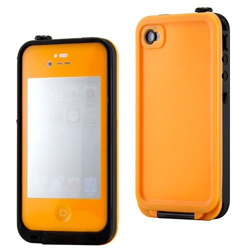 Gearonic Orange Waterproof Shockproof Full Body Skin Case Cover Pouch For Iphone 4 4S 4G, Multi Purpose Protective Skin For Water, Shock, Snow, Dirt