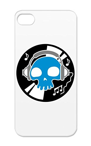 Tearproof White Digitalstoff-Skulls: Music Until Death Cover Case For Iphone 5/5S Skull Music Dance Electronica Dj Skeleton Dead Headphones Discjockey Bone Party Head Tpu