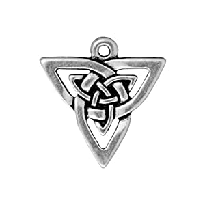Silver Plated Lead-Free Pewter Celtic Open Triangle Pendant Charm 21mm (1)