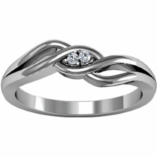 10K White Gold Diamond Heart Promise Ring - 0.03 Ct. - Size 6