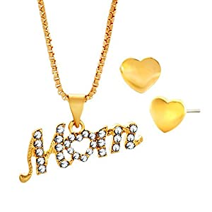 Pugster 18k Gold Plated Clear White Crystal Mom Pendant Necklace And Heart Love Beads Stud Earrings Set Gifts For Mother