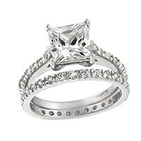 Sterling Silver Square CZ Bridal Engagement Ring Set