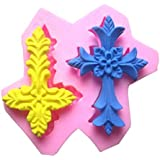 Allforhome Silikonform, mit 2Vertiefungen, Motiv: Erntedank-Kreuz, Backform, Dessertform, Schokoladenform, Seifenform,