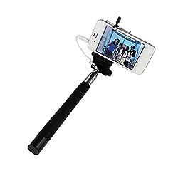 Lorem Extendable Selfie Stick with Aux Cable Hand Held Monopod - Black- L16669