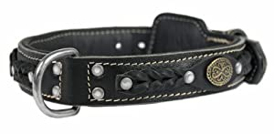 Dean & Tyler Dean's Legend Dog Collar with Black Padding and Chrome Plated Steel Hardware, 22 by 1-1/2-Inch, Black