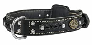 Dean & Tyler Dean's Legend Dog Collar with Black Padding and Chrome Plated Steel Hardware, 20 by 1-1/2-Inch, Black