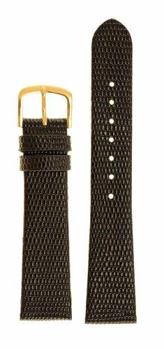 Men's Lizard Grain Watchband - Color Black Size: 20mm Watch Strap