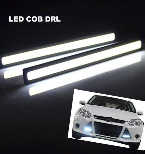 Lemonbest® A Pair Of Super Bright Slim Cob Car Vehicle Led Cool White Lights For Drl Fog Driving Lamp Waterproof 12V Black