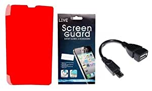 KolorEdge Flip Cover + Screen Protector + OTG Cable for Nokia Lumia 520 - red