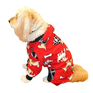 Pedigree Perfection PJP22-1RED Pet Threads Red Puppy Polarctic Fleece Pajamas for Your Dog, 10-Size