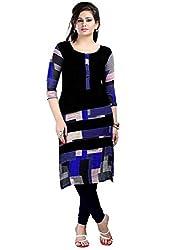Clickedia Women's Cotton Kurta (neerja Blue kurti_Black_Free Size)