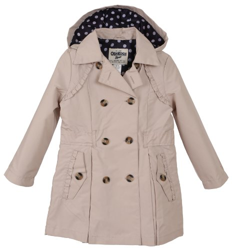 Oshkosh Girls Classical Trench Spring Coat With Hood - Khaki (Size 5/6) front-1072457