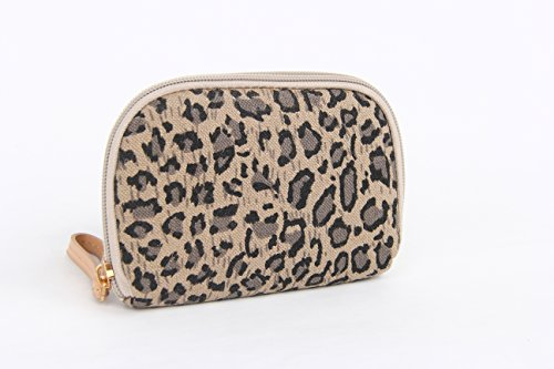 Cute Small Patterned Coin Purse Animal Print Popular High Quality Ladies Retro Classic Nostalgic Sackcloth Coin Case Purses (Leopard)