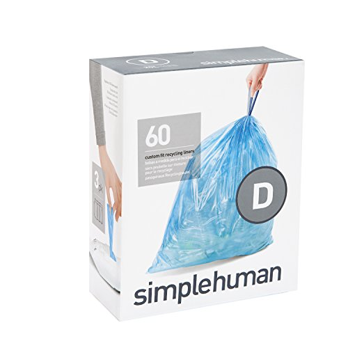 simplehuman code D custom fit recycling liners, 3 refill packs (60 liners), Code D recycling - 20L / 5.2 Gallon, Blue (Blue Recycling Trash Can compare prices)