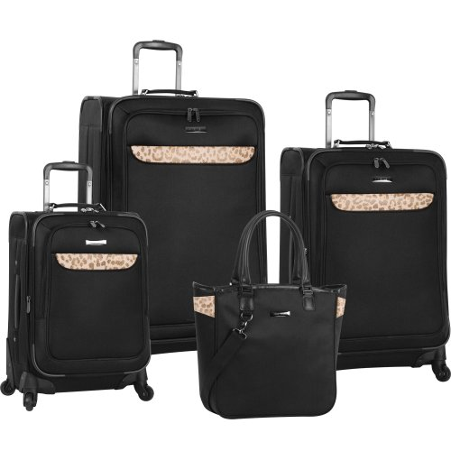 Anne Klein Luggage Cross Country Four Piece Luggage Set, Black, One Size best price