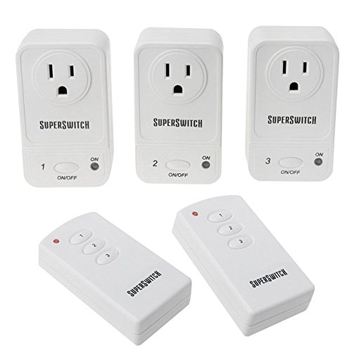 Super Switch 60' Wireless Range Remote Control Outlet Switches (Set Of 3 Switches W/ 2 Remotes)