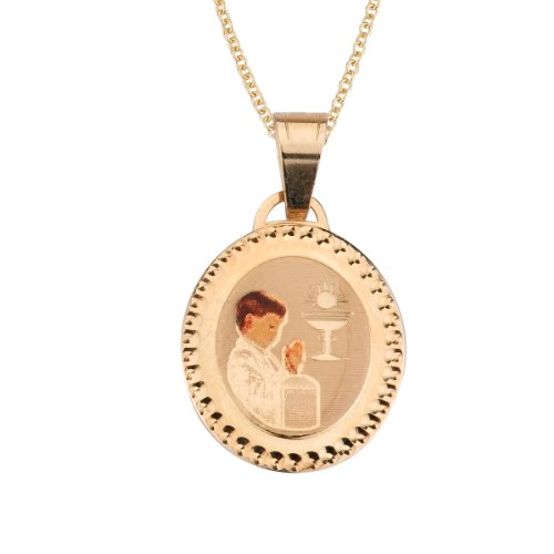 14k Yellow Gold First Holy Comm union Boy Picture Medal Necklace, 16