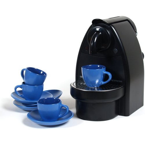 Nespresso C91 Essenza Black Espresso Machine With Free 8 Piece Retro Blue Espresso Cup And Saucer Set