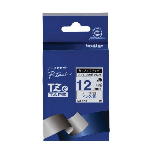 Brother Cloth Tape Tze Tape(blue / White) 12mm Tze-fa3