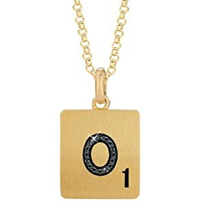 Gold Plated Sterling Silver .04 CTW Black Diamond Letter