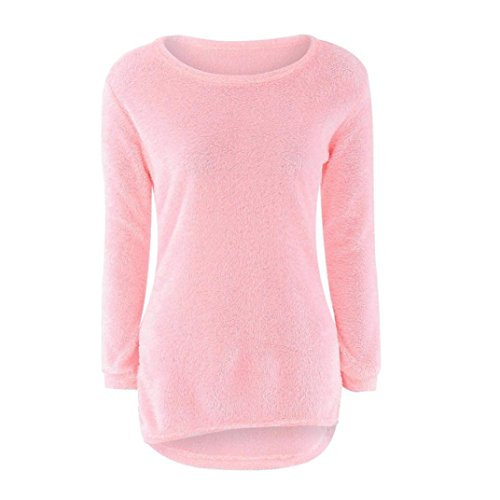 Sweater, WILLTOO Womens Long Sleeve Jumper Sweaters Blouse (L, Pink)
