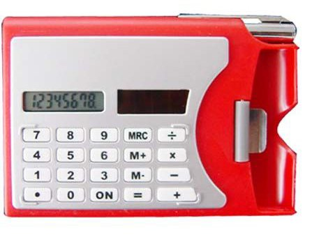 2x Solar Calculator, Pen Office Business Card Holders(red)