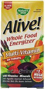 Alive! Multi-Vitamin (no iron) 60 Tablets by Nature's Way