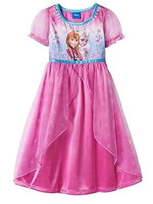 Disney Toddler Girls Pink Princess Elsa & Anna Night Gown Frozen Satin Nightie