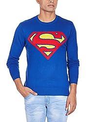Superman Men's Cotton Blend Sweater (8903346477708_SP1DMW26_Large_Royal Blue)