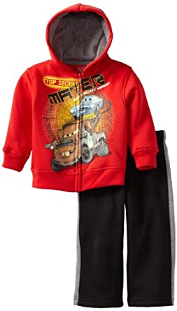 Disney Boys 2-7 Cars 2 Piece Fleece Set, Red/Black, 5