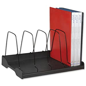 Arnos Eco-Tidy Adjustable Book 6 Wire Dividers Rack W388xD275xH220mm Black Ref E120